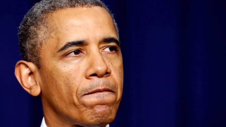 Presidente dos Estados Unidos, Barack Obama fala na Casa Branca sobre o ataque ao prédio da Marinha, em Washington