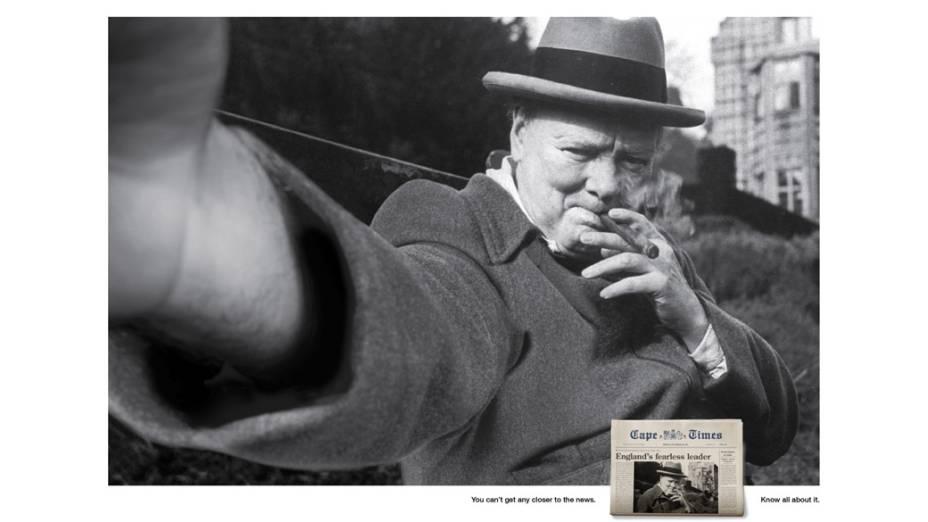 A histórica imagem do ex-primeiro-ministro britânico Winston Churchill também foi transformada em selfie