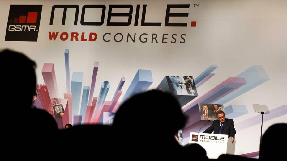 Presidente da Telefônica, Cesar Alierta, durante Mobile World Congress em Barcelona, Espanha