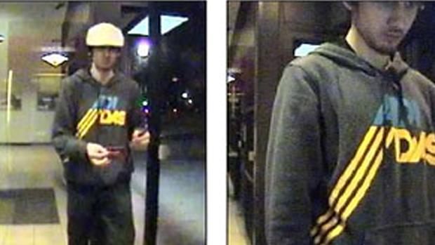 <br><br>  Imagem de uma câmera de segurança mostra Dzhokhar Tsarnaev em um posto do Bank of America em Watertown