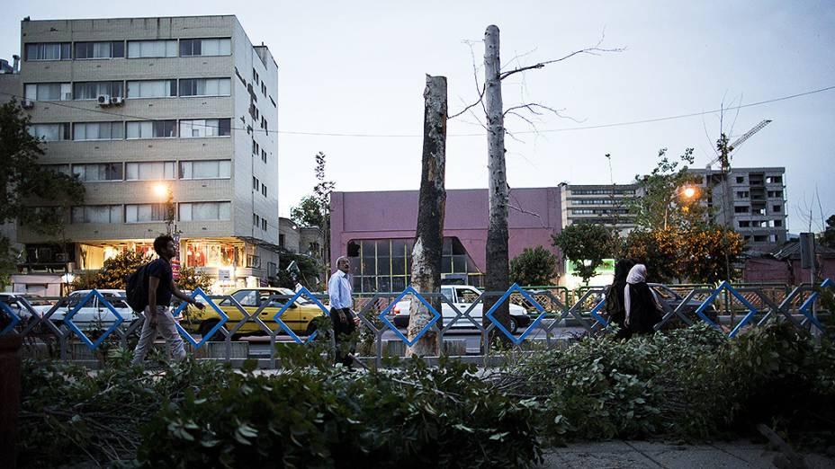 Tempestade de areia derruba árvores em Teerã, capital do Irã