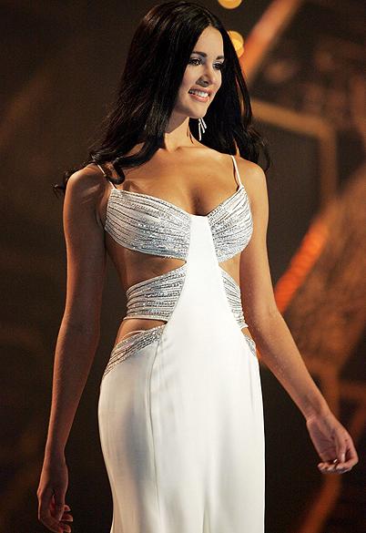 Mónica Spear durante concurso Miss Universo de 2005, em Bangcoc, na Tailândia