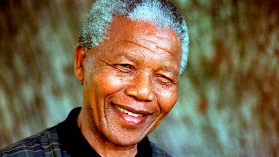 Presidente da África do Sul, Nelson Mandela, em 1996