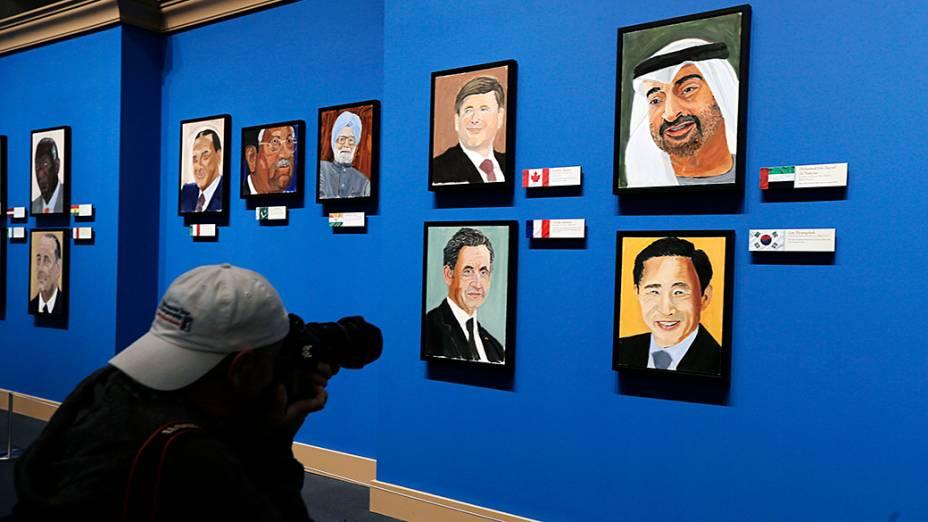 Pinturas feitas pelo ex-presidente dos Estados Unidos George W. Bush e expostas na Biblioteca e Museu Presidencial Bush, em Dallas, no Texas