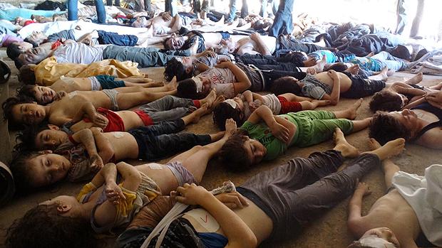 Vítimas do ataque na região de Goutha, na Síria