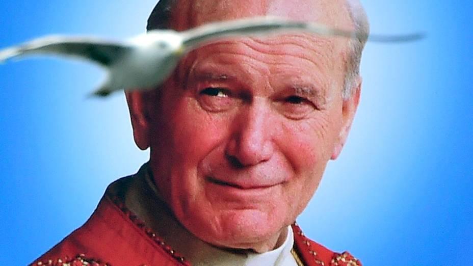 Gaivota voa próxima ao retrato de João Paulo II, canonizado pela Igreja neste domingo (27)