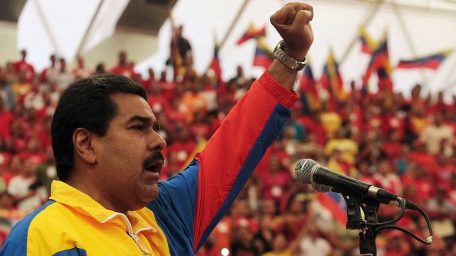 Presidente Nicolás Maduro, durante comício para as eleições presidenciais, no estado de Barinas na Venezuela