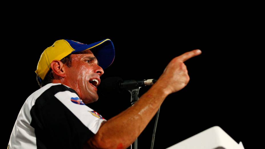 Candidato a presidente Henrique Capriles, durante campanha no estado de Barinas, na Venezuela