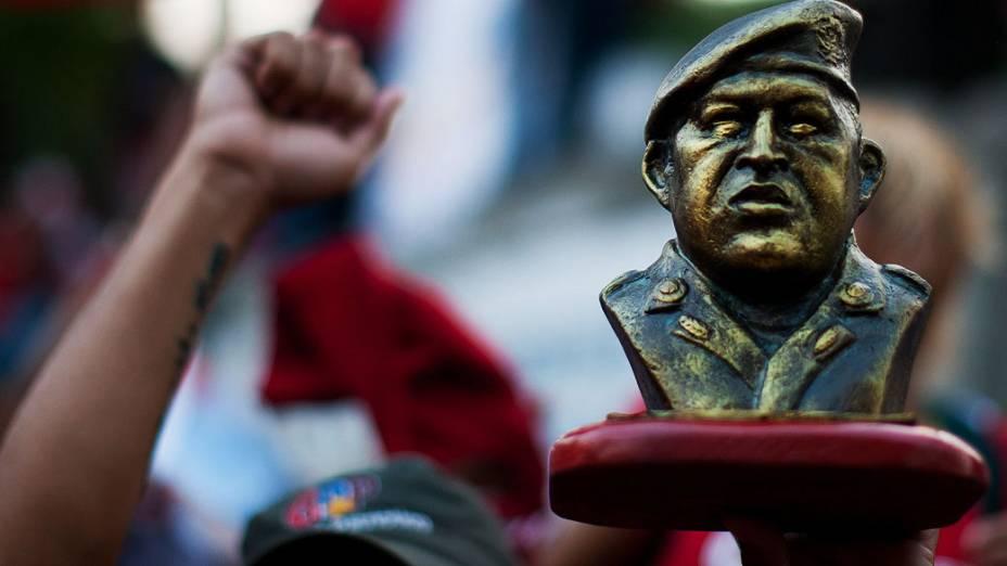Seguidores do Presidente Nicolás Maduro, durante um comício em Caracas na Venezuela