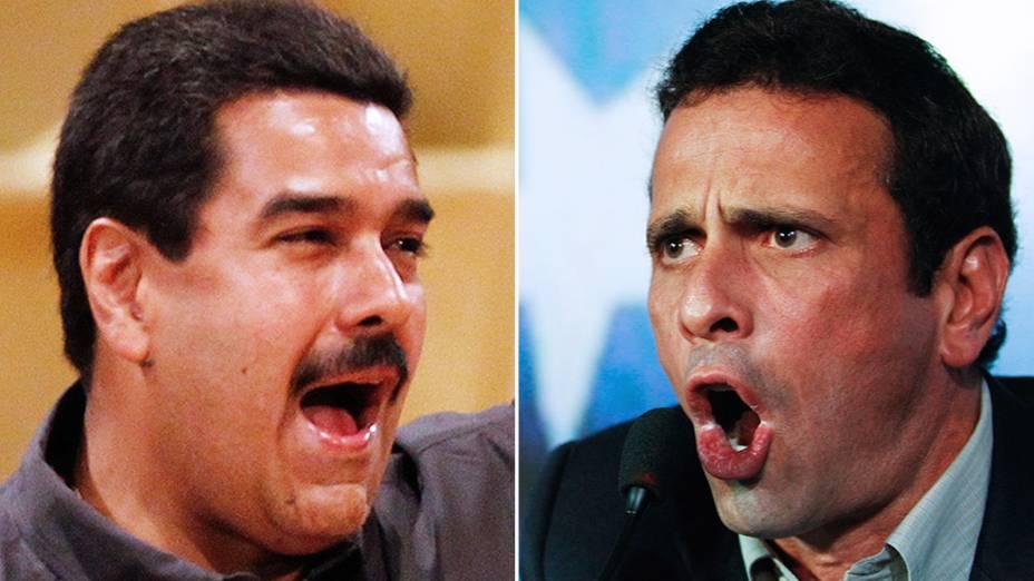 Nicolás Maduro e Enrique Capriles, candidatos à presidência na Venezuela
