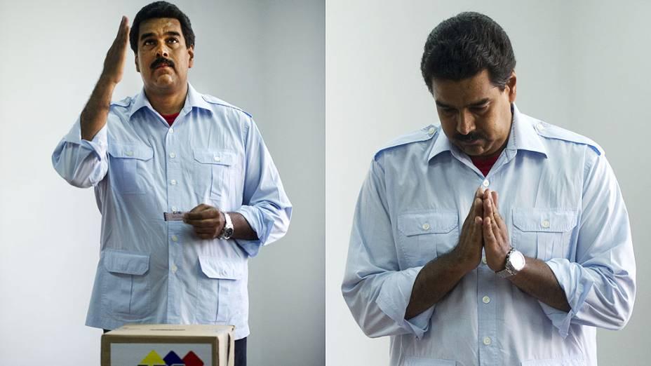Candidato chavista Nicolás Maduro comparece para votar em Caracas neste domingo (14)