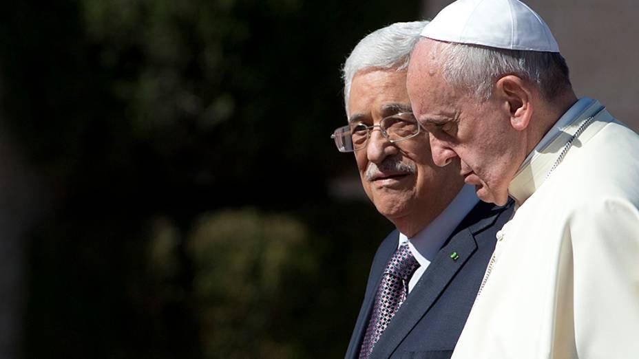Papa Francisco encontra o presidente da Autoridade Palestina, Mahmoud Abbas, na cidade de Belém, na Cisjordânia