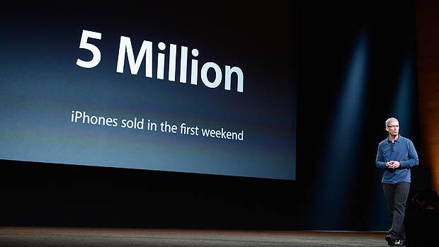 Tim Cook, CEO da da Apple, durante evento na Califórnia