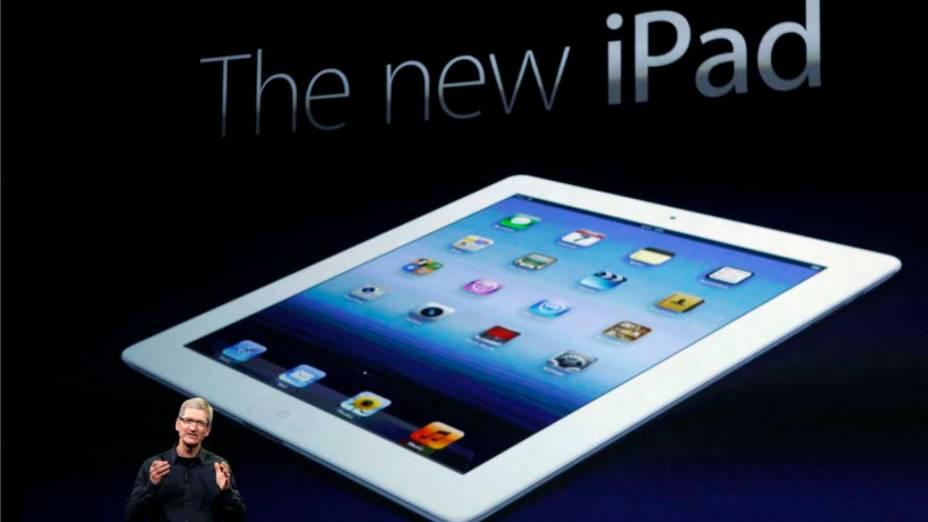 Tim Cook, CEO da Apple, apresenta o novo Ipad 3 durante o evento em São Francisco, nos Estados Unidos