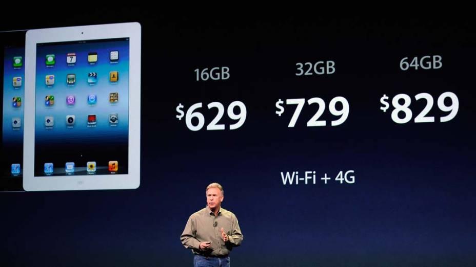 Phil Schiller, vice-presidente global de marketing da Apple, apresenta os preços do Ipad3 durante o evento em São Francisco, nos Estados Unidos