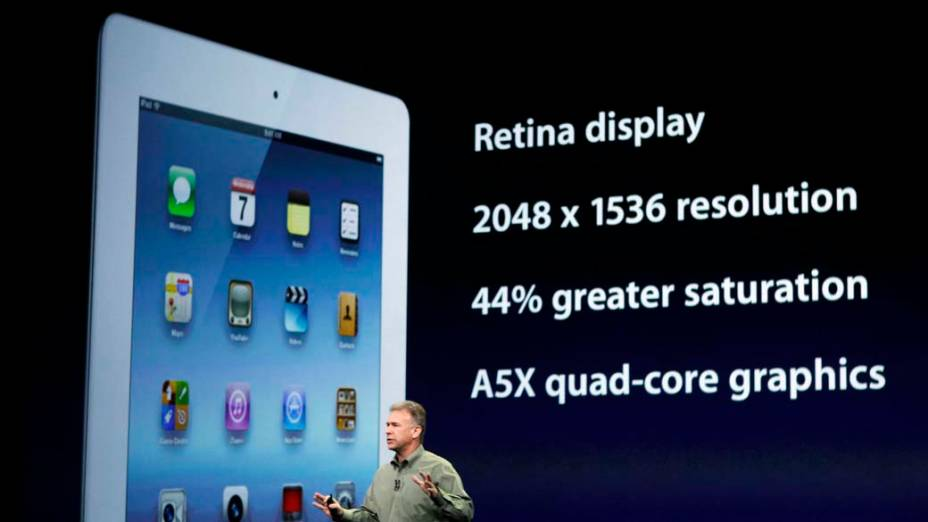 Phil Schiller, vice-presidente global de marketing da Apple, apresenta Ipad3 durante o evento em São Francisco, nos Estados Unidos