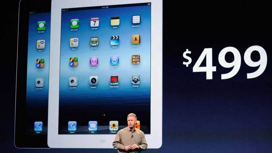 Phil Schiller, vice-presidente global de marketing da Apple, apresenta preços Ipad3 durante o evento em São Francisco, nos Estados Unidos