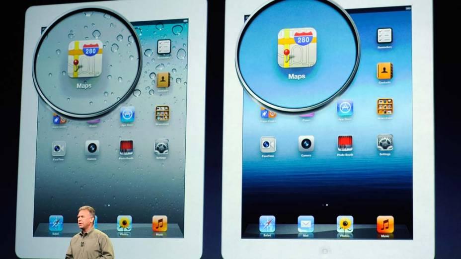 Phil Schiller, vice-presidente global de marketing da Apple, apresenta as diferenças entre o Ipad2 e o Ipad3 durante o evento em São Francisco, nos Estados Unidos