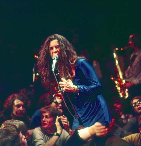 Janis Joplin durante show em Copenhagen, Dinamarca, em abril de 1969