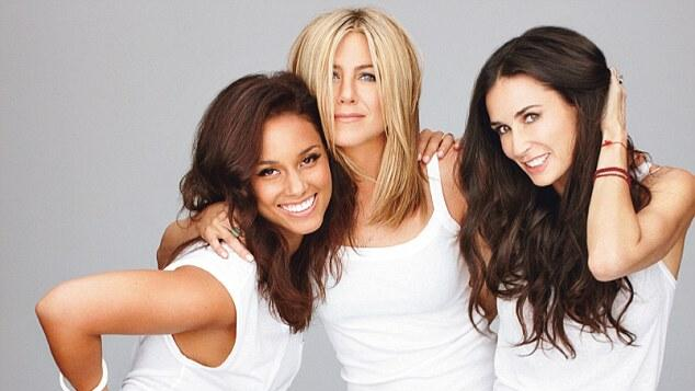 Jennifer Aniston com Alicia Keys e Demi Moore em ensaio para a revista Glamour