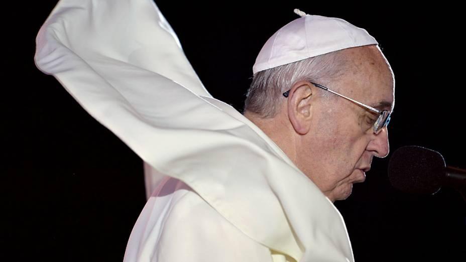 Papa Francisco discursa em Copacabana, em 26/07/2013