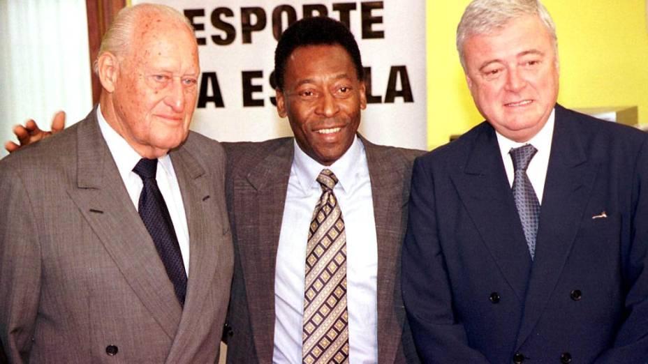 João Havelange, Pelé e Ricardo Teixeira, em 2001