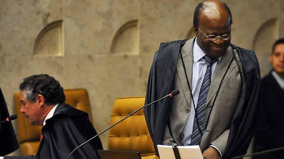 O ministro e relator Joaquim Barbosa no plenário do Supremo Tribunal Federal (STF), em Brasília, durante a 25ª sessão de julgamento do processo do mensalão, em 19/09/2012