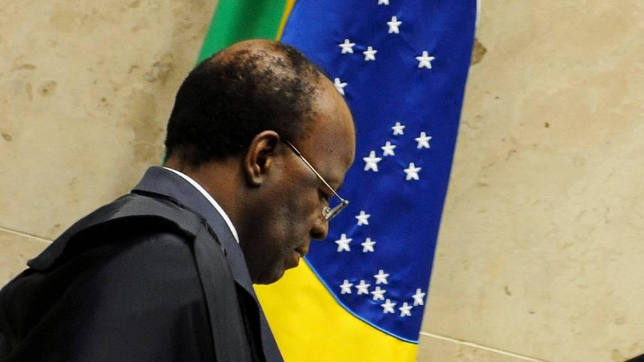 Ministro Joaquim Barbosa, relator, durante o julgamento do mensalão, em 03/10/2012