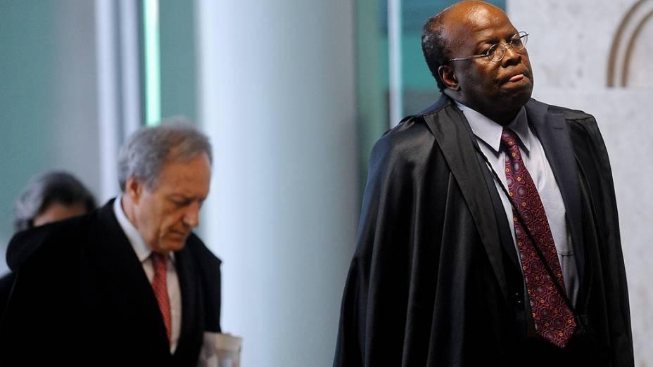 Ministro Joaquim Barbosa, relator, durante o julgamento do mensalão, em 07/11/2012