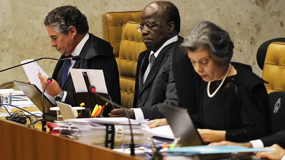 Ministro Joaquim Barbosa, relator, durante o julgamento do mensalão, em 12/11/2012