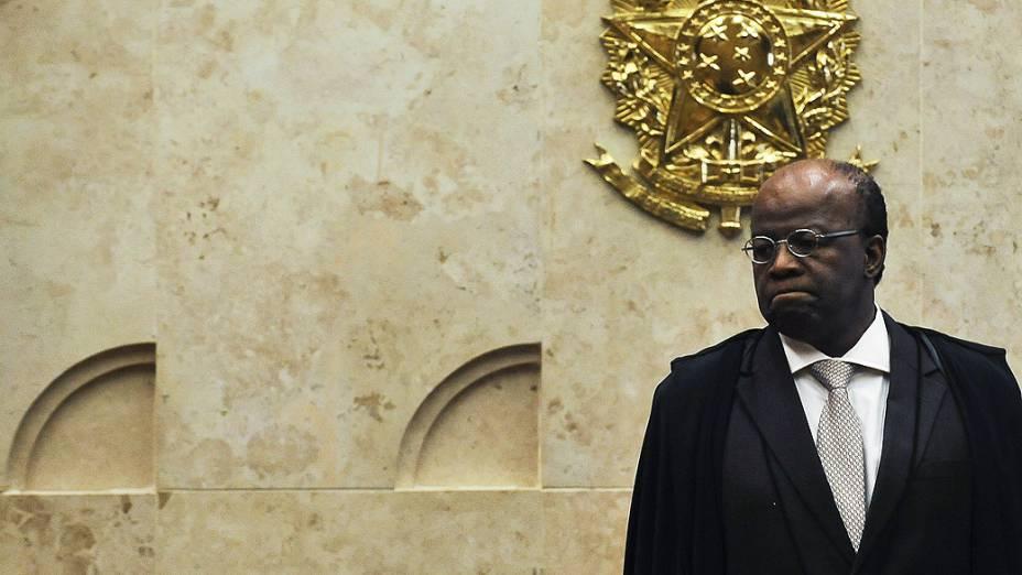 O presidente do STF, Joaquim Barbosa, durante julgamento do mensalão, em 10/12/2012