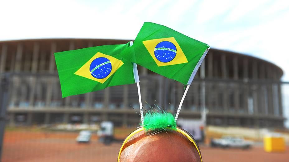 Movimentação da torcida antes do amistoso entre Brasil e Austrália, no Estádio Mané Garrincha, em Brasília