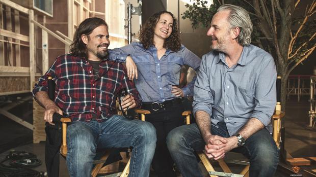 O roteirista, Peter Craig, a produtora Nina Jacobson, e o diretor Francis Lawrence, de Jogos Vorazes: A Esperança - Parte 1
