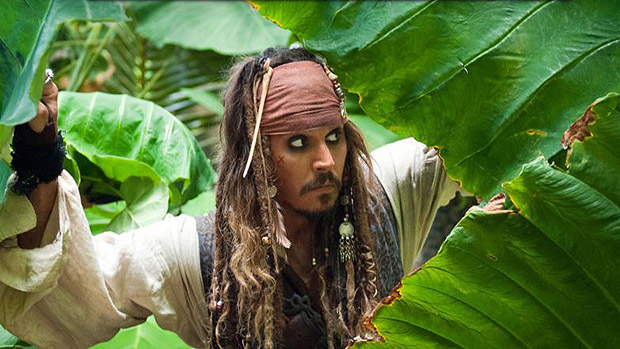 Jack Sparrow (Johnny Depp) na saga Piratas do Caribe