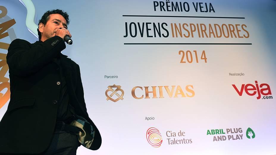 O ator Marcos Palmeira durante cerimônia do Prêmio Jovens Inspiradores 2014, em São Paulo