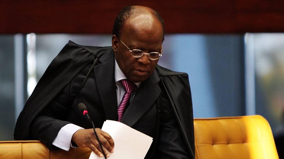 O ministro relator, Joaquim Barbosa, inicia análise de questões preliminares durante julgamentodo mensalão, em 15/08/2012