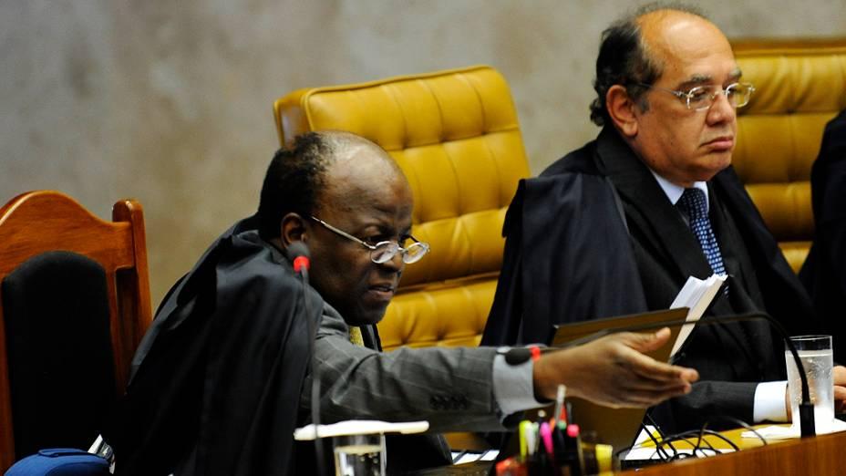 Ministro Joaquim Barbosa durante julgamento do mensalão, em 20/08/2012