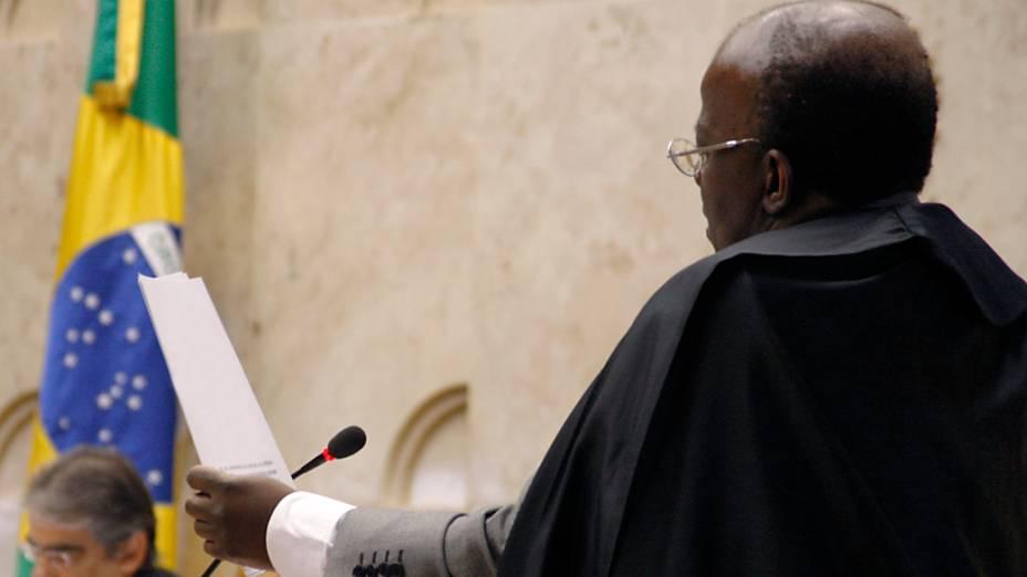 O ministro Joaquim Barbosa durante julgamento do mensalão, em 03/09/2012