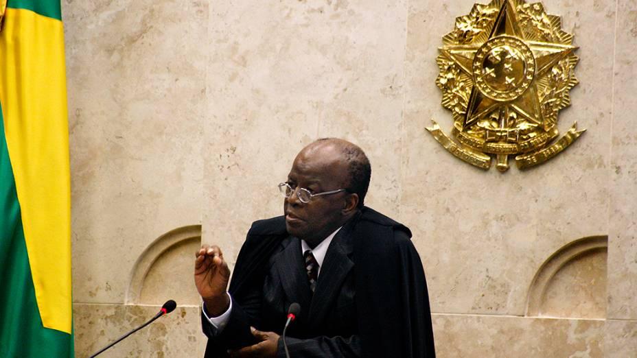O presidente do STF, Joaquim Barbosa, durante julgamento do mensalão, em 06/12/2012