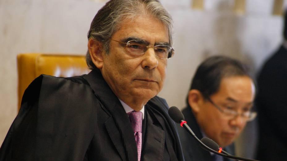 O presidente do Supremo Tribunal Federal, ministro Carlos Ayres Britto, durante a sessão para o julgamento da Ação Penal 470, mais conhecida como processo do mensalão