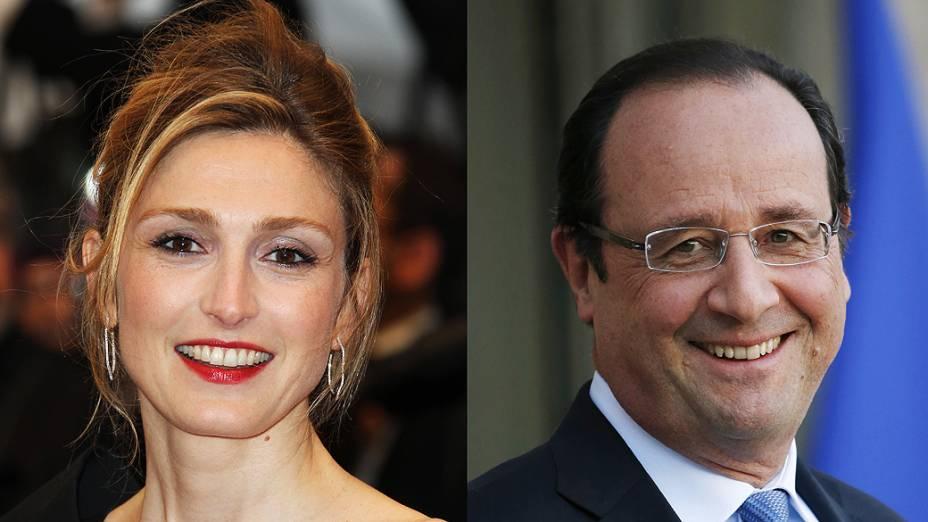 Montagem mostra a atriz Julie Gayet no festival de Cannes em 2012 e François Hollande no palácio presidencial do Eliseu