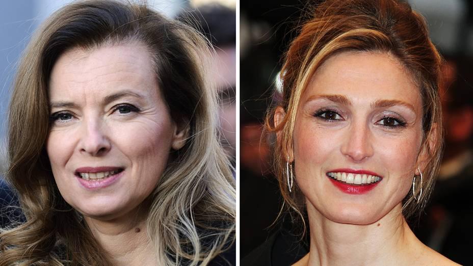 Montagem mostra a primeira-dama francesa Valerie Trierweiler e a atriz Julie Gayet