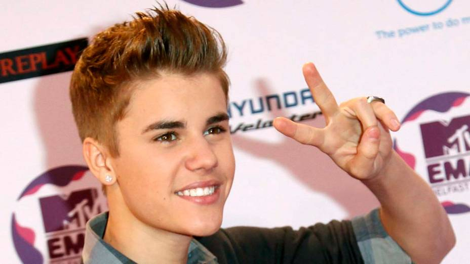 <p>Justin Bieber no MTV Europe Music Awards, na Grã-Bretanha</p>