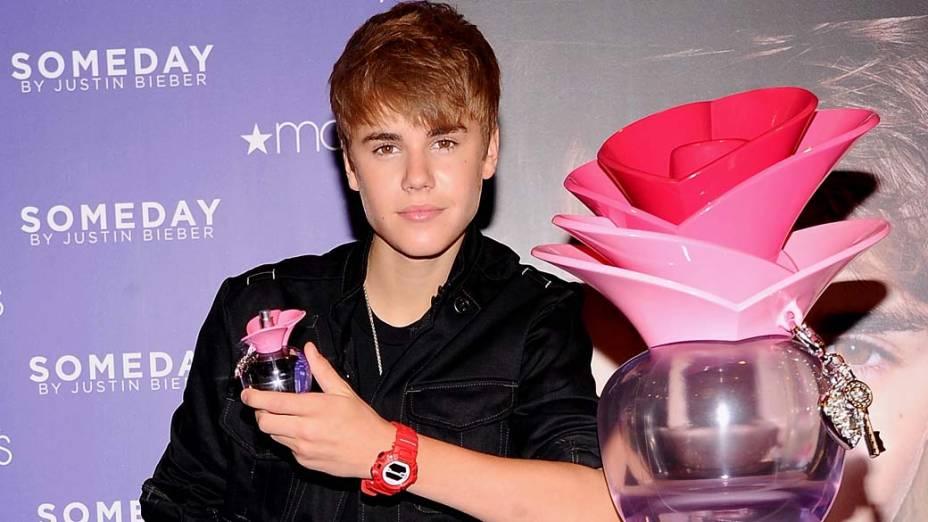 <p>Justin Bieber durante o lançamento do seu perfume em Nova York</p>