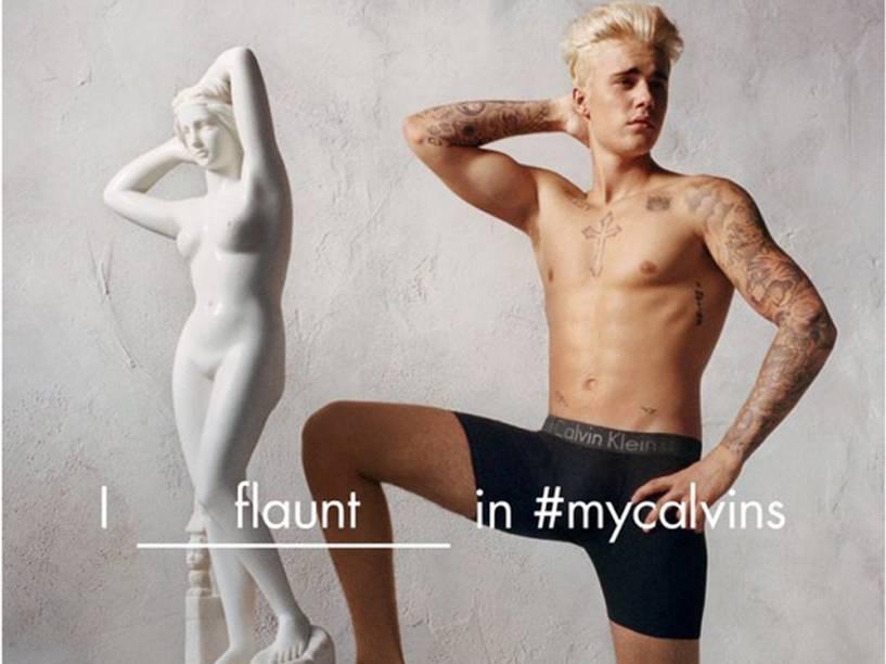 Justin Bieber posa para a Calvin Klein