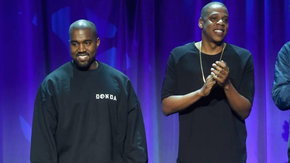 Kanye West e Jay Z no lançamento do Tidal