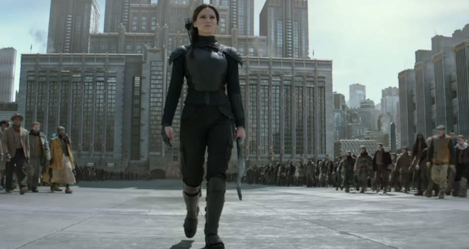 Katniss (Jennifer Lawrence) em Jogos Vorazes: A Esperança - O Final