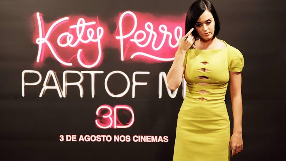 Cantora Katy Perry divulga no Rio de Janeiro, o filme <em>Katy Perry - Part of me</em>, que conta sua trajetória com imagens de bastidores e de arquivo pessoal