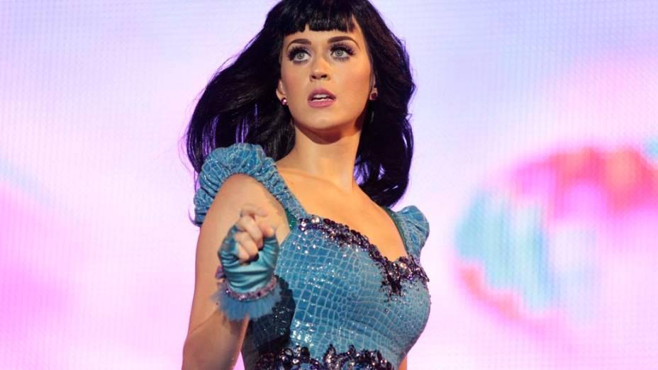 Katy Perry durante show no palco Mundo, no primeiro dia do Rock in Rio, em 23/09/2011