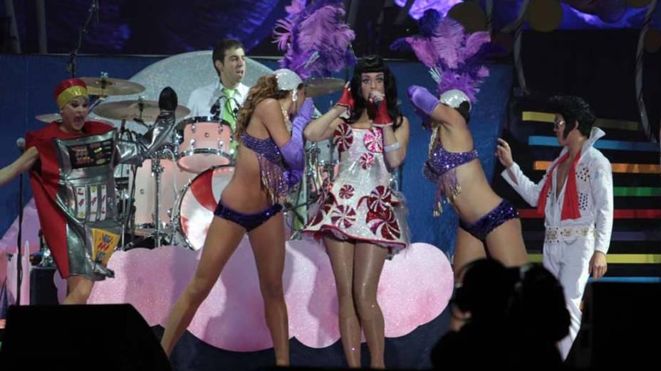 Katy Perry durante o show da turnê mundial <em>The California Dreams Tour</em> na Chácara do Jockey, em 25/09/2011